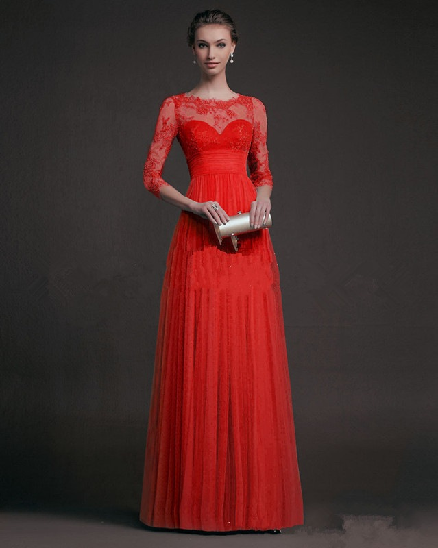 Charming Long Sleeve Lace Perspective Evening Dress - Red