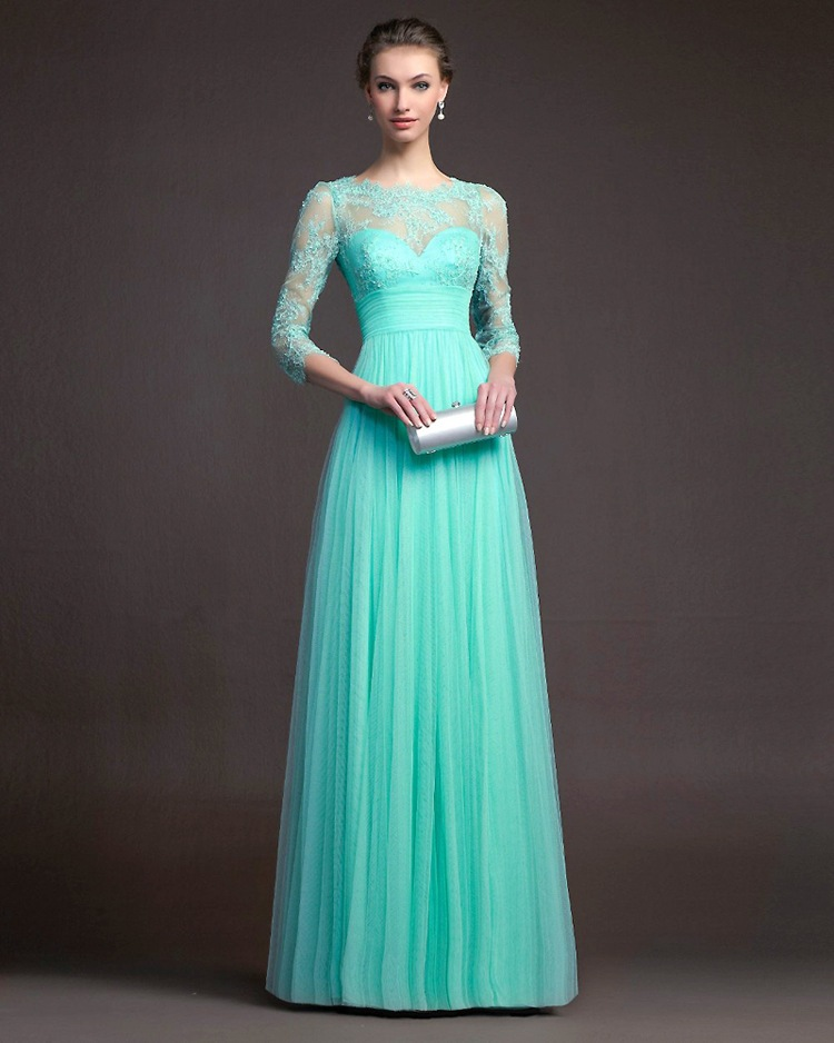 Charming Long Sleeve Lace Perspective Evening Dress - Blue