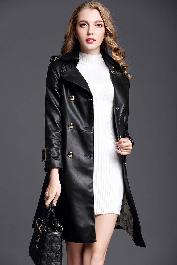 High Quality Luxury Turndown Collar Double Breasted Leather Trench Coat - Black
