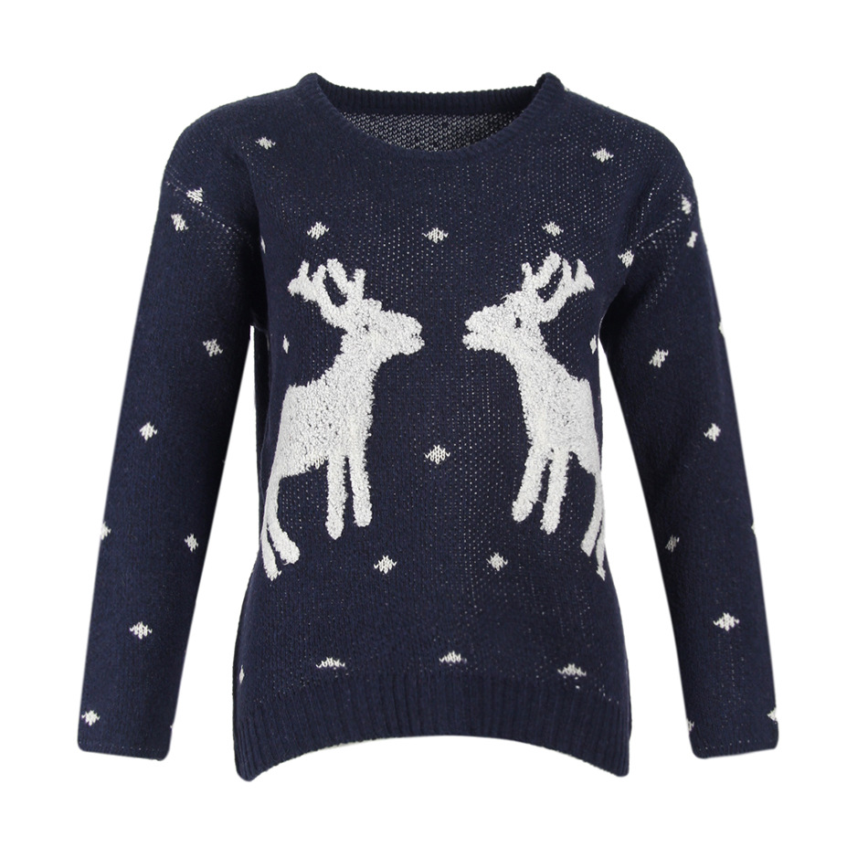 Cute Deers Round Neck Long Sleeve Sweater - Navy Blue