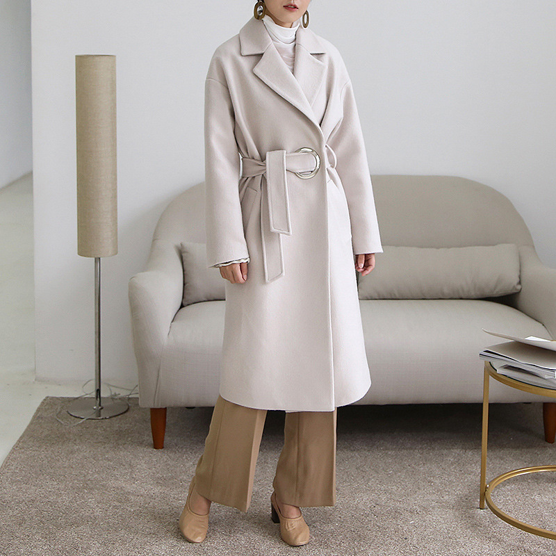 Luxurious Double-breasted Metal Trim Wool Winter Coat With Belt