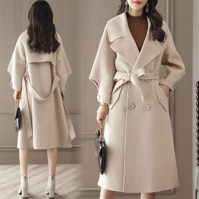 Luxurious And Fashion Loose Long Wool Winter Coat - Beige