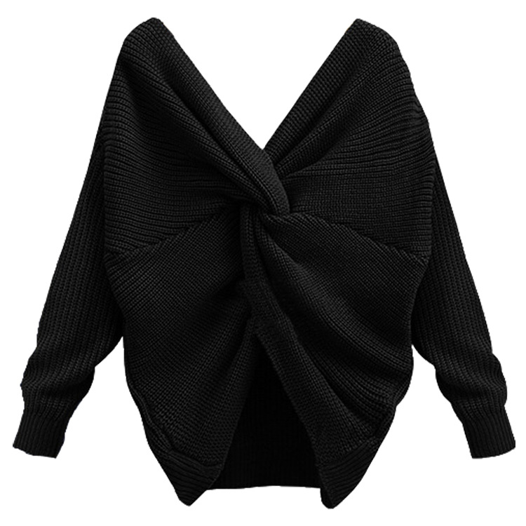 Hot Sale V Neck Irregular Back Long Sleeve Sweater For Women - Black