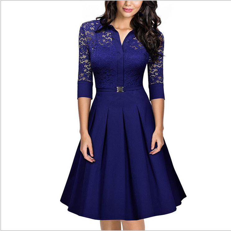 Elegant Lace Career Work Dress Shirt Dress - Blue