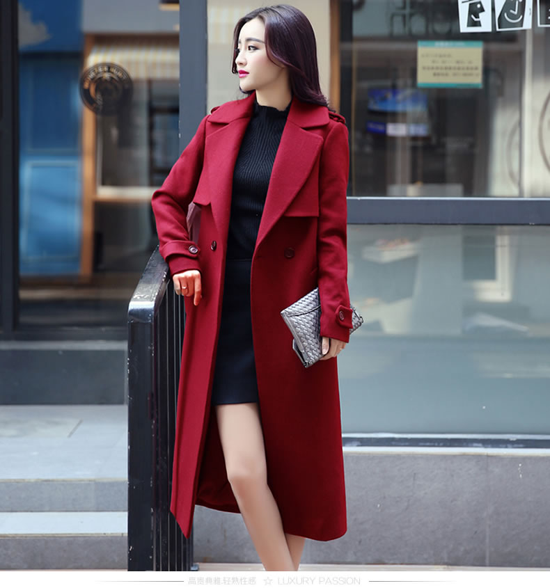Designer Fashion Long Style Wool Winter Coat - Red