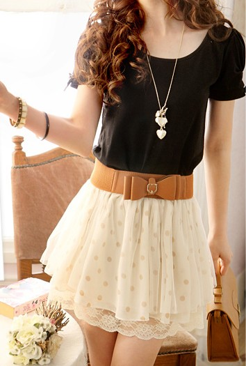 Fashion Polka Dots Skirt With Belt