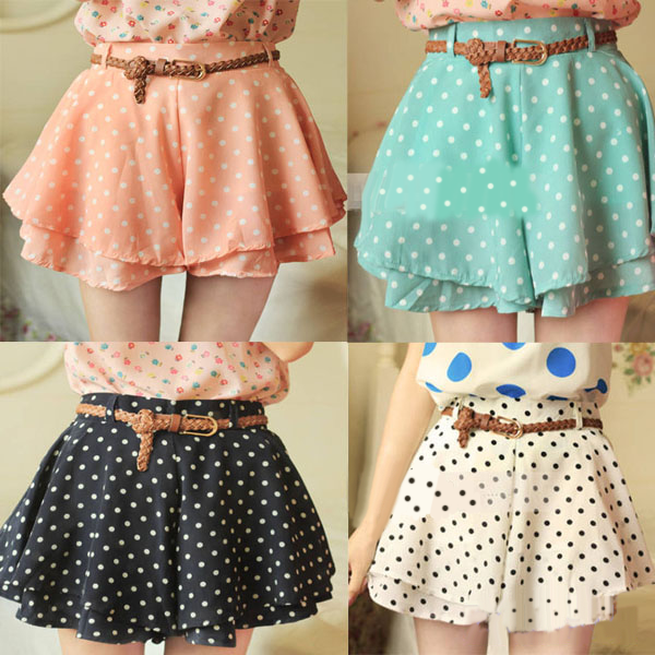 Brand New Polka Dots Shorts With Belt ( Five colors)