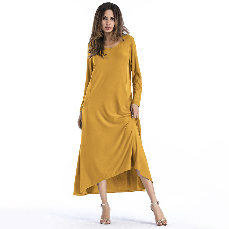 17e75f8896fc Fashion Solid Color Long Sleeve Maxi Dress - Yellow on Luulla