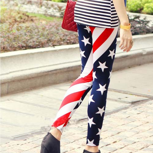 Women's Fashion US. Flag Star Stripe Print Elastic Leggings