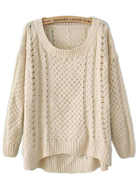Comfy Round Neck Long Sleeve High Low Hem Sweater - Beige on Luulla