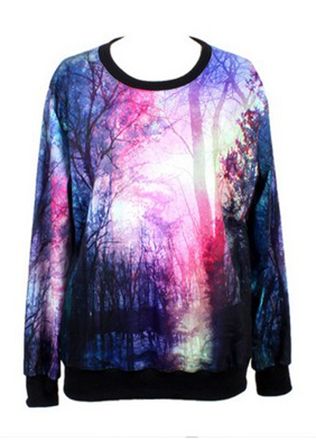 Special Design Woman Forest Pattern Polyester T Shirt