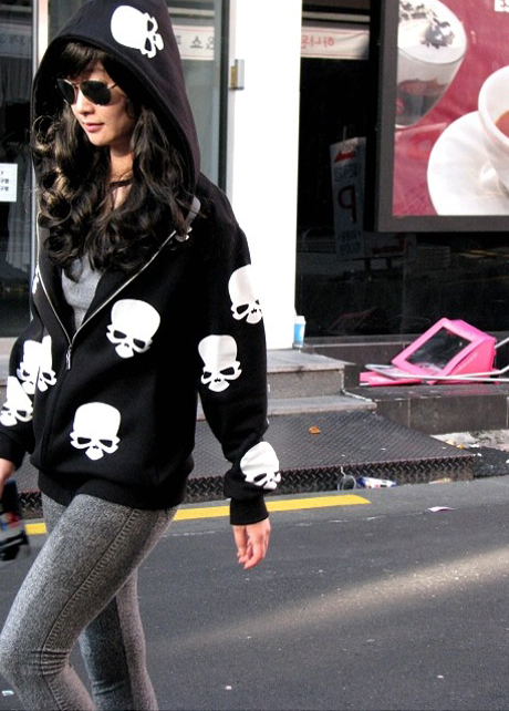 Cute Skull Head Print Long Sleeve Black Hoodies
