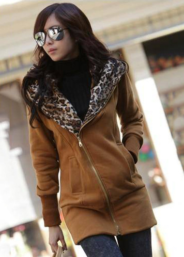 Comfortable Zip Closure Leopard Inside Cotton Hooded Coat - Dark Yellow