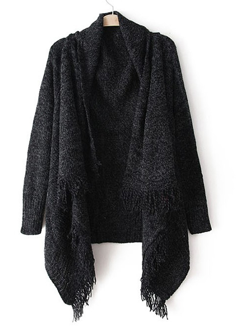 Woman Baggy Sweater Cardigans With Tassel Decoration - Black on Luulla