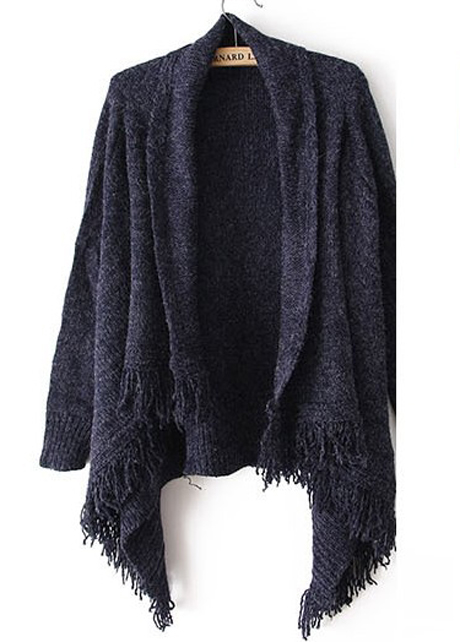 Woman Baggy Sweater Cardigans With Tassel Decoration - Navy Blue ...