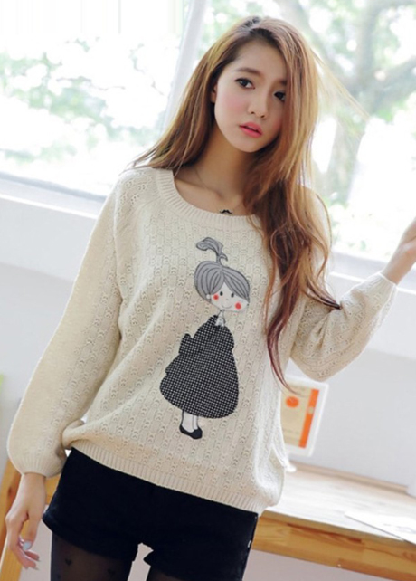 Winter Cute Girls Print Long Sleeve Pullovers Sweater - White on ...