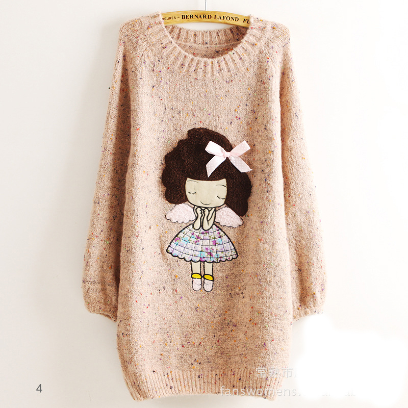 Cute Little Girl Pattern Loose Round Neck Batwing Sleeve Sweater , Pink