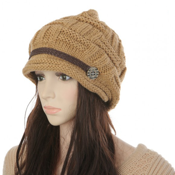 Free shipping Fashion Slouchy Knitted Hat Cap For Women - Khaki