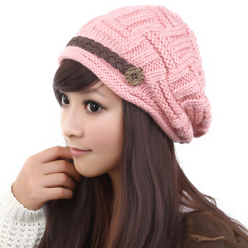 Free Shipping Fashion Slouchy Knitted Hat Cap For Women Pink On Luulla