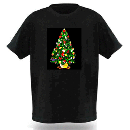 Fashion Electro-Luminescent Music Activated Christmas Tree Led T Shirt For Men And Women