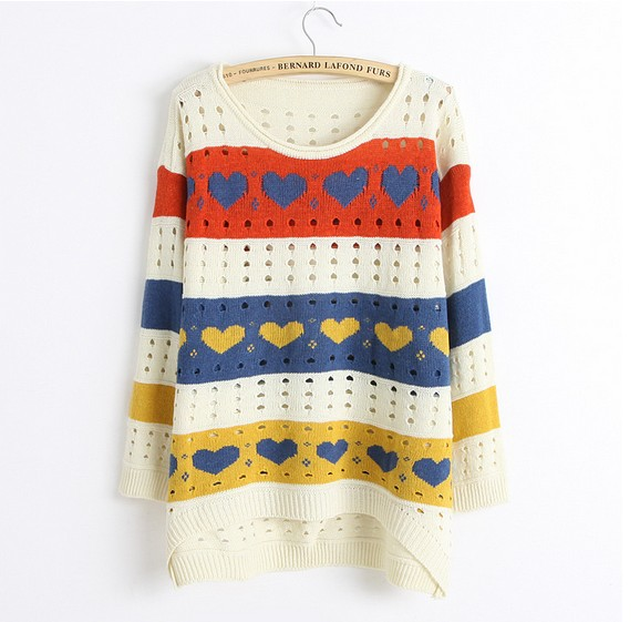 Cute Love style Hollow Loose Women Knitting Sweater - White
