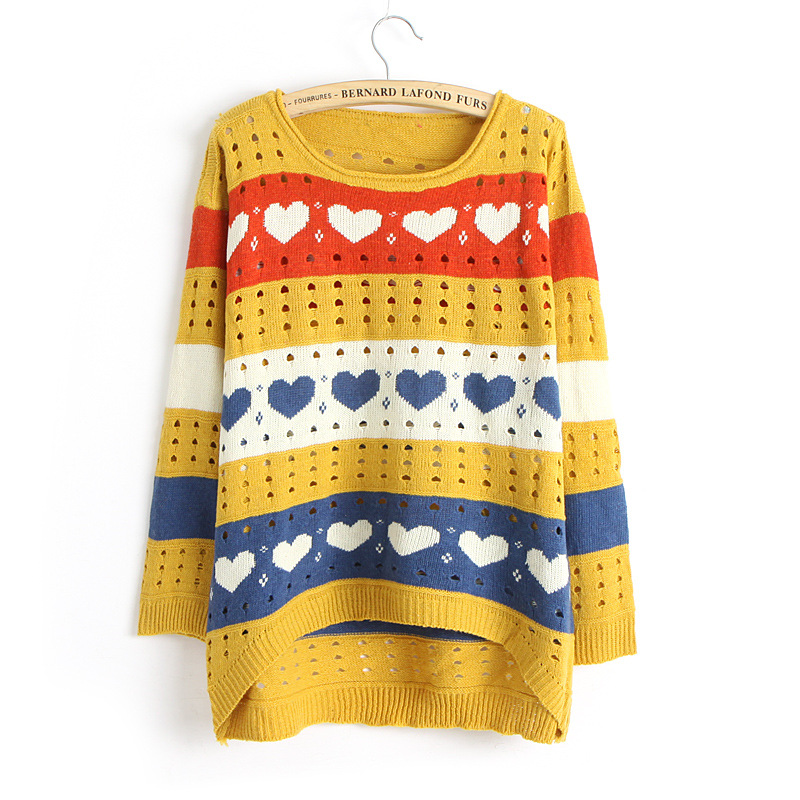 Cute Love Style Hollow Loose Women Knitting Sweater - Yellow on Luulla