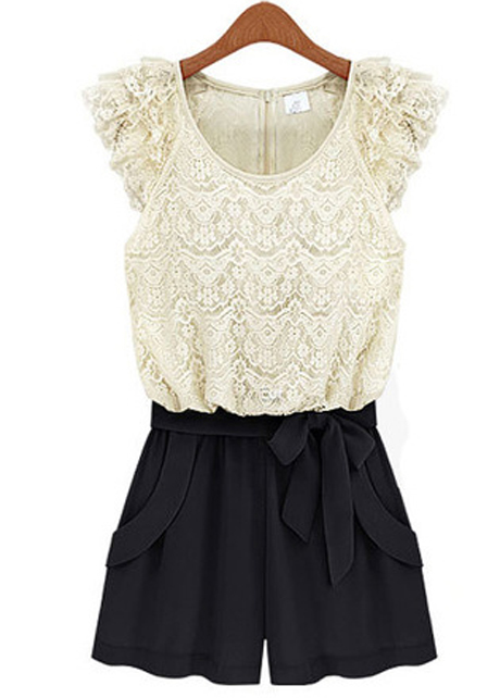 Fashion And Romantic Lace Pattern Petal Sleeve Color Block Rompers - White&Black
