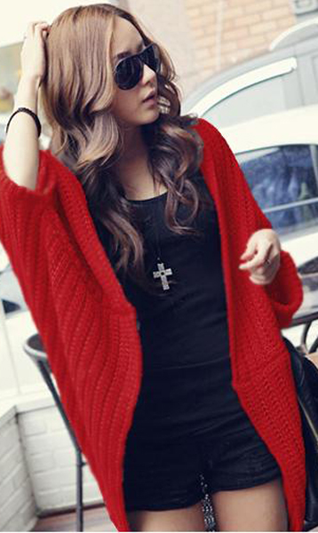 Good Quality Women Batwing-sleeve Cardigan Sweater - Red on Luulla