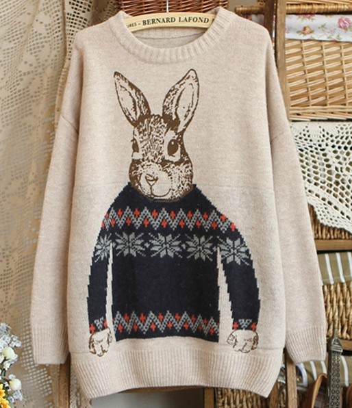 Girls Sweet Rabbit Print Long Sleeve Pullovers - Khaki