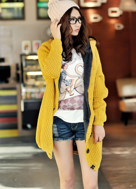 Hooded Collar Long Style Knitting Wool Sweater Coat - Yellow on Luulla