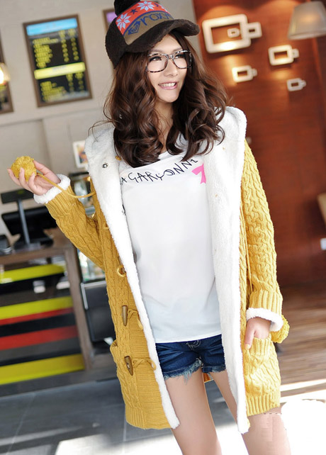 High Qualiy Long Style Warm Sweater Coat with Hat - Yellow