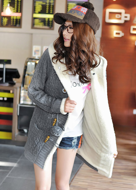 High Qualiy Long Style Warm Sweater Coat with Hat - Grey