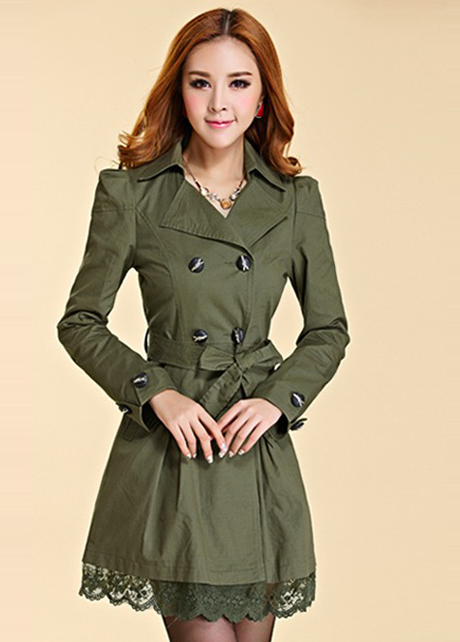 New Lace Decoration Double Breasted Trench Coat - Army Green
