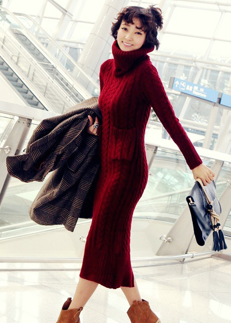 Red dress long sleeve turtleneck