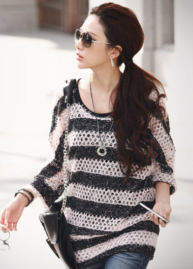 Vogue Square Collar Three Quarter Sleeve Long Knitting Wool Pullover Sweater - Black