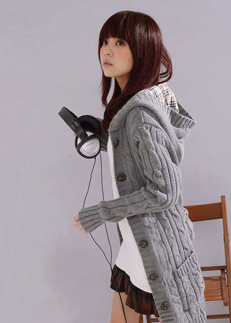 b5a889ce02c3 Winter Long Sleeve Button Fly Hooded Sweater Coat on Luulla