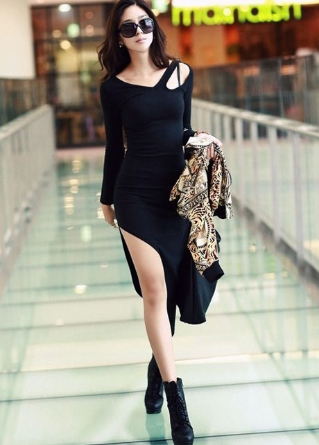 Skinny Cut Out Shoulder Long Sleeve Mid Calf Dress - Black