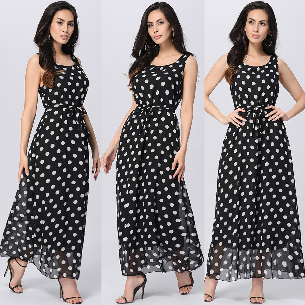 266bf73a3 Round Neck Polka Dots Sleeveless Chiffon Ankle Length Dress - Black ...