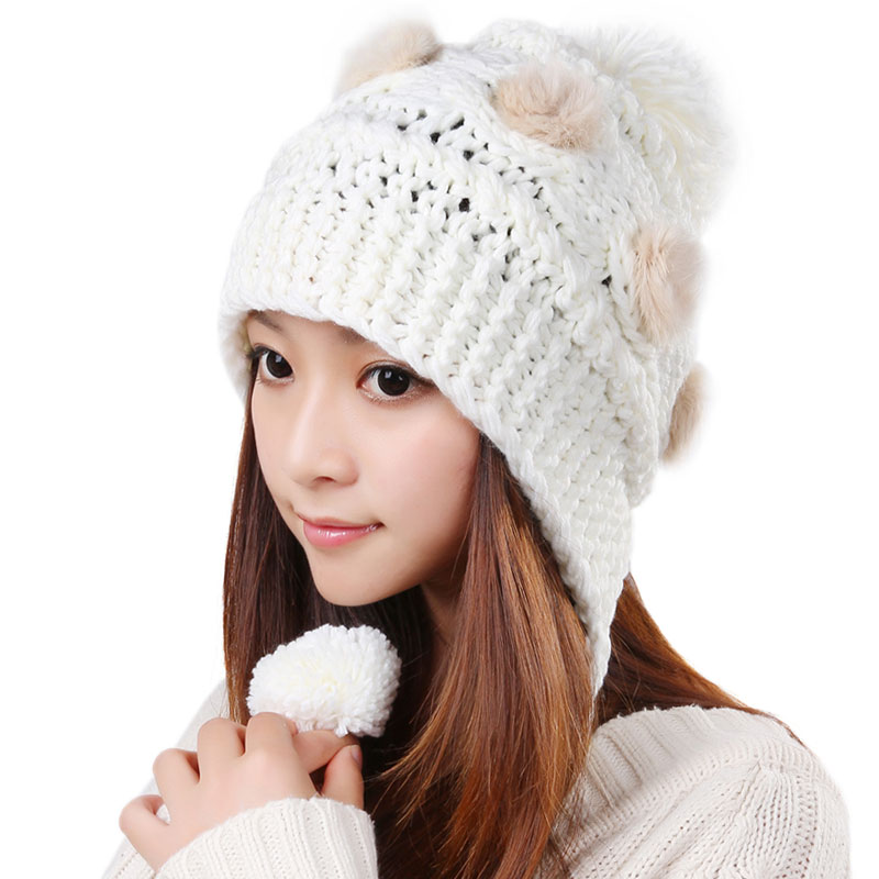 Free Shipping Cute Various Little Ball Knitted Bomber Hat For Girls - White 3d41622e470