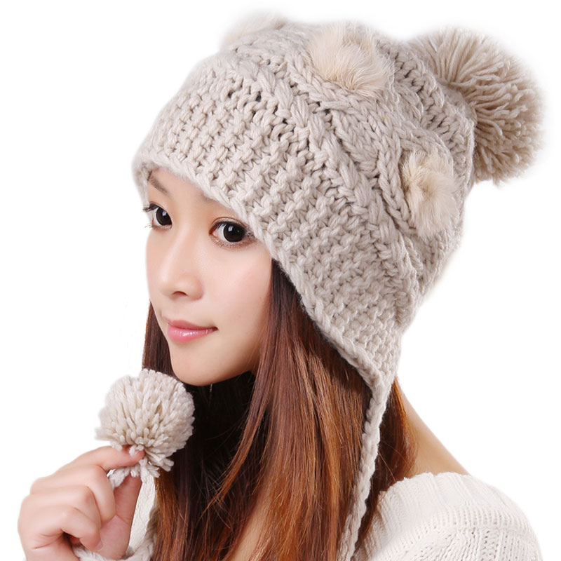 Free Shipping Cute Various Little Ball Knitted Bomber Hat For Girls - Beige 203087f3ec0
