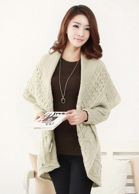 Stylish Lady Turndown Collar Apricot Long Sweater Cardigans