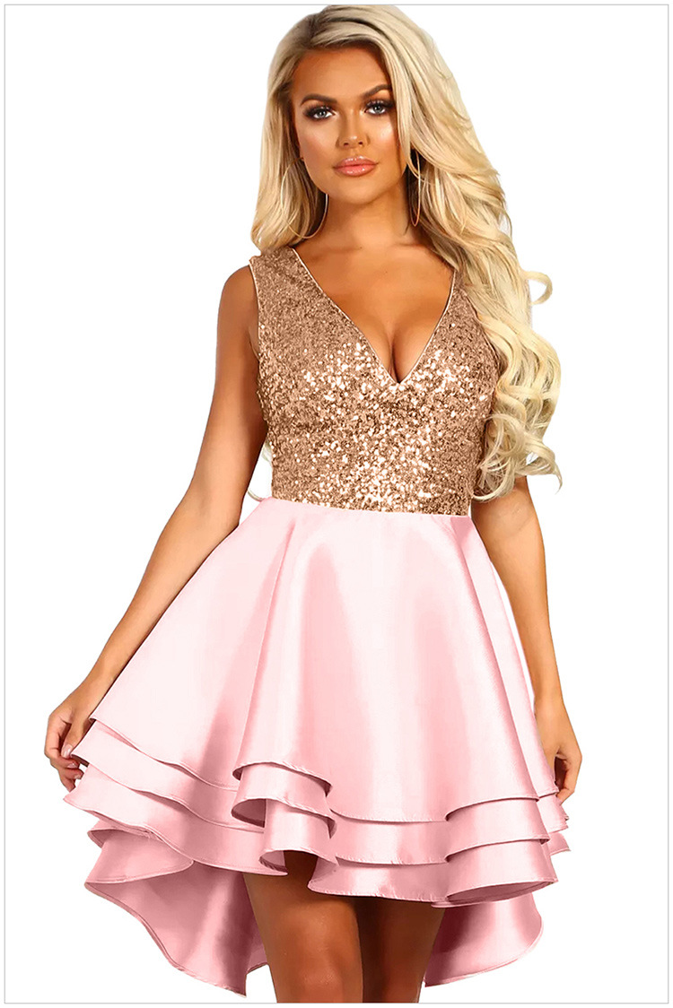V Neck Pink Sequin Multi Party Dress