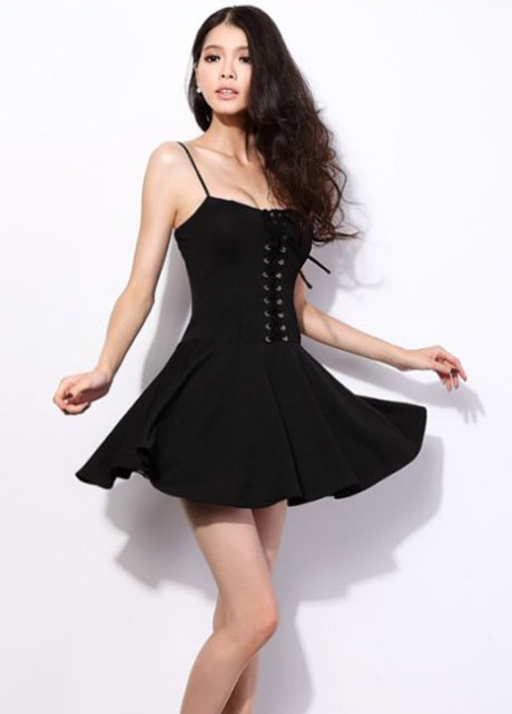 sexy hot spaghetti strap design woman dress  black on luulla