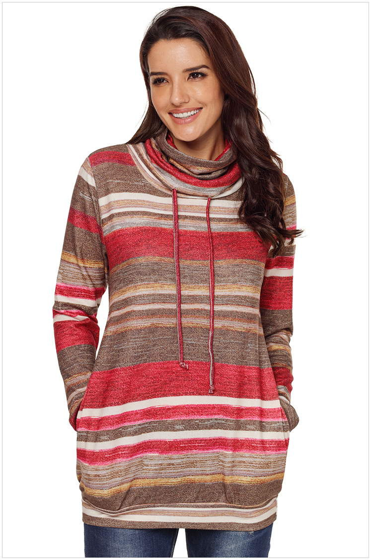 Long Sleeve Cowl Neck Pullover Sweatshirt - Red