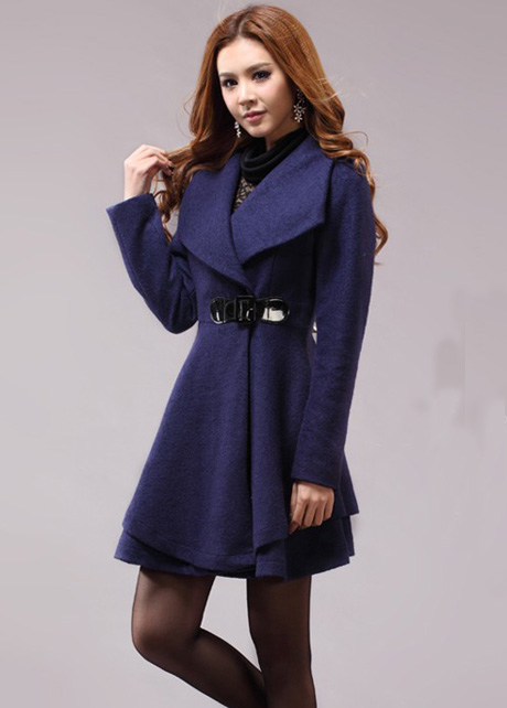 Lovely Dress Pattern Turndown Collar Woolen Coat - Navy Blue on Luulla