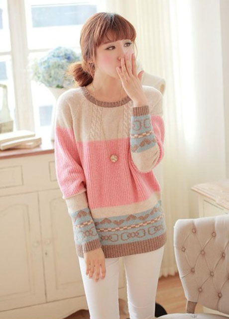 Cute Girls Candy Color Round Neck Pullovers Sweater on Luulla