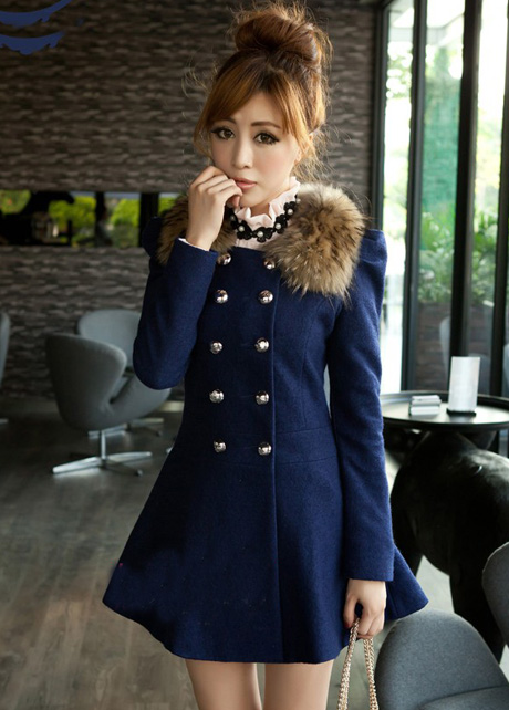 Fashion Double Breasted Fur Decoration Collar Coat - Navy Blue