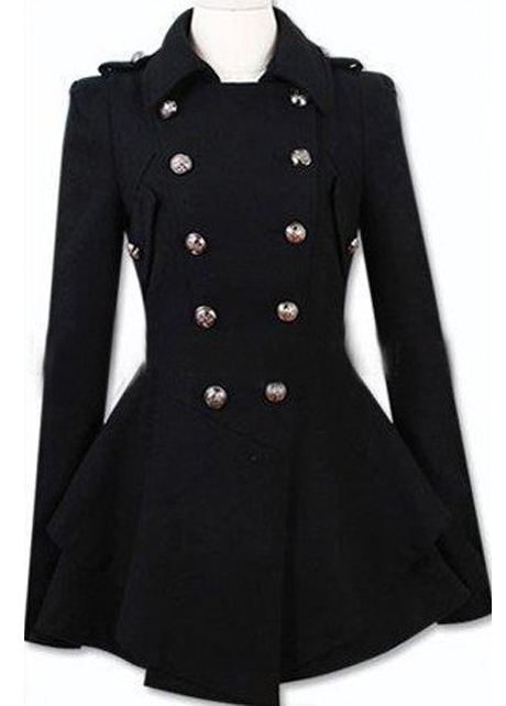 Latest Double Breasted Wool Turndown Collar High Waist Coat - Black