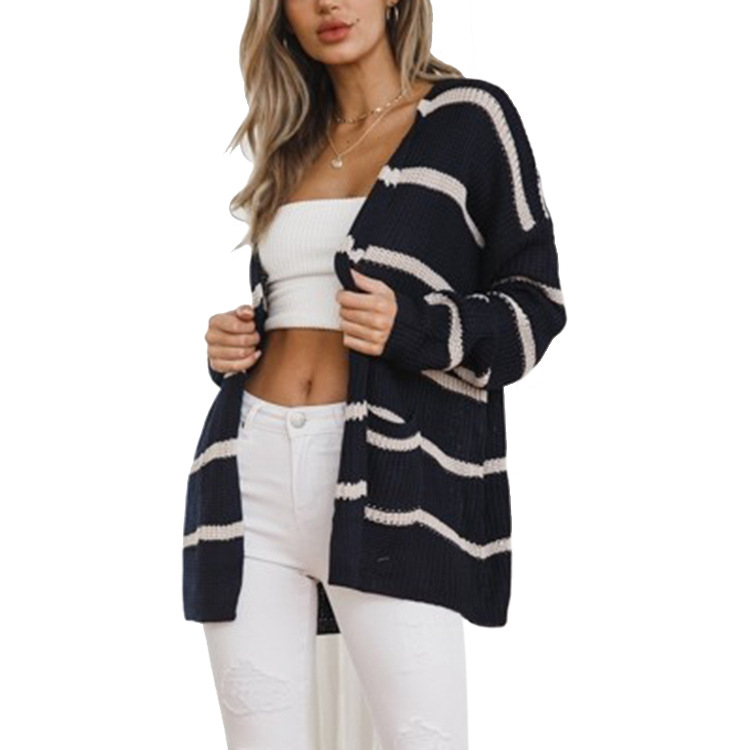 9d5dcf2c07d Womens Slim Fit Knitted Long Sleeve Stripe Loose Sweater Outwear Cardigan -  Black