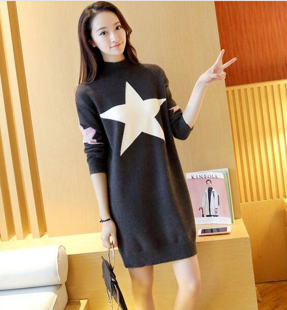 c09becd7a90 Cute Star Loose Pullover Sweater Dress - Dark Grey on Luulla